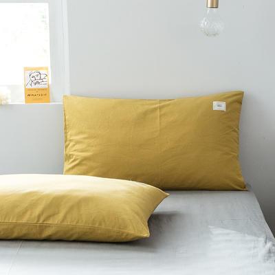2019新款-全棉水洗棉单品枕套 48cmX74cm/一对 绅士黄
