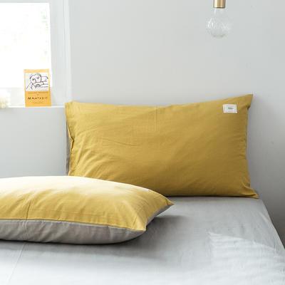 2019新款-全棉水洗棉单品枕套 48cmX74cm/一对 绅士黄+卡其