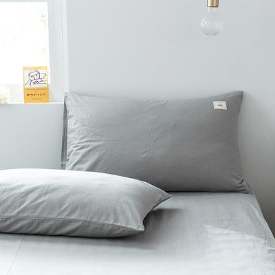 2019新款-全棉水洗棉单品枕套 48cmX74cm/一对 绅士灰