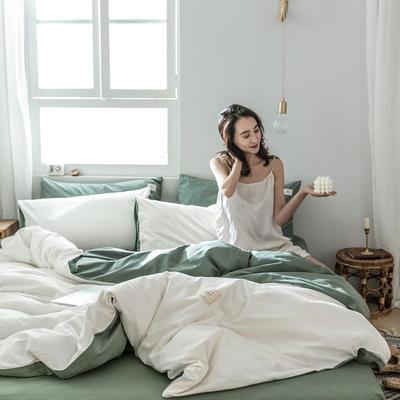 2019新款-全棉水洗棉四件套 三件套1.2m(4英尺)床 白+墨子绿