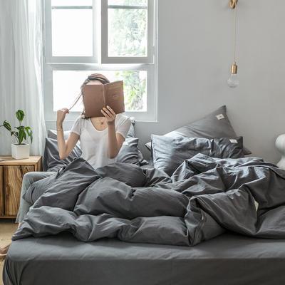 2019新款-全棉水洗棉四件套 三件套1.2m(4英尺)床 低调灰