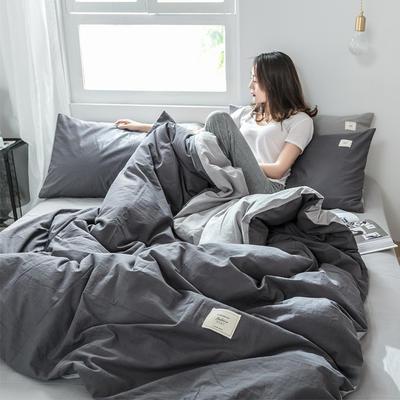 2019新款-全棉水洗棉四件套 三件套1.2m(4英尺)床 低调灰+绅士灰