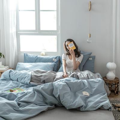 2019新款-全棉水洗棉四件套 三件套1.2m(4英尺)床 清雅蓝+绅士灰