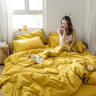 2019新款-全棉水洗棉四件套 三件套1.2m(4英尺)床 绅士黄