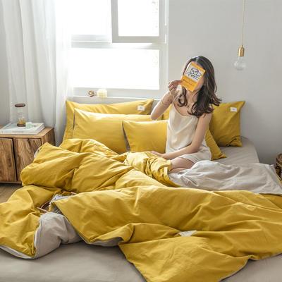 2019新款-全棉水洗棉四件套 三件套1.2m(4英尺)床 绅士黄+卡其