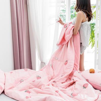 2019新款-全棉夏被 枕套48*74cm 草莓猫