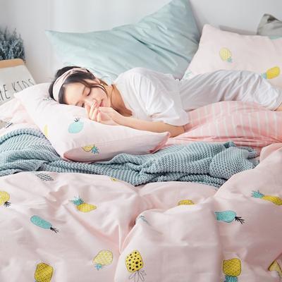 2019新款-小清新全棉四件套 床单款三件套1.2m(4英尺)床 浅唱