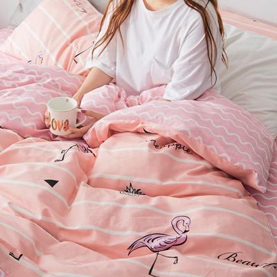 2019新款-小清新全棉四件套 床单款三件套1.2m(4英尺)床 甜心菠萝-粉