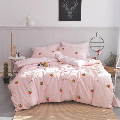 2019新款-小清新全棉四件套 床单款三件套1.2m(4英尺)床 甜心草莓