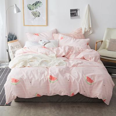 2019新款-小清新全棉四件套 床单款三件套1.2m(4英尺)床 西瓜