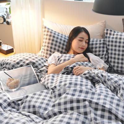 2019新款-小清新全棉四件套 床单款三件套1.2m(4英尺)床 小灰格