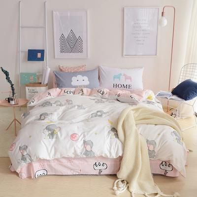 2019新款-小清新全棉四件套 床单款三件套1.2m(4英尺)床 小象