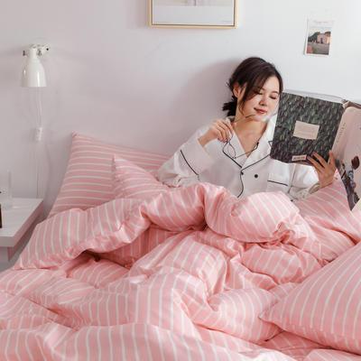 2019新款-条格无印四件套 床单款三件套1.2m(4英尺)床 白浅800