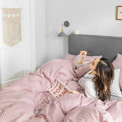 2019新款-条格无印四件套 床单款三件套1.2m(4英尺)床 梵欧-粉800