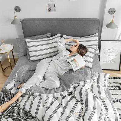 2019新款-条格无印四件套 床单款三件套1.2m(4英尺)床 芳华-白800