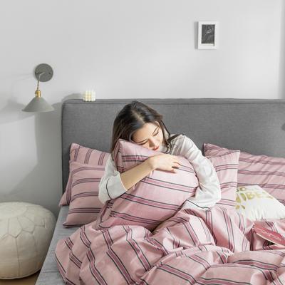 2019新款-条格无印四件套 床单款三件套1.2m(4英尺)床 芳华-红800