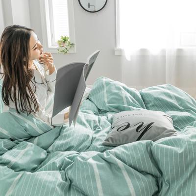 2019新款-条格无印四件套 床单款三件套1.2m(4英尺)床 谷色-绿800