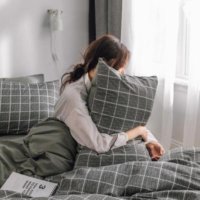 2019新款-条格无印四件套 床单款三件套1.2m(4英尺)床 慕尼黑800