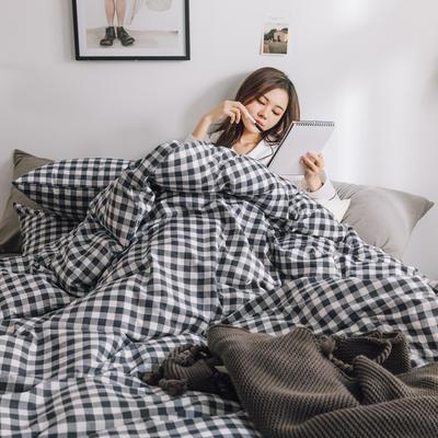 2019新款-条格无印四件套 床单款三件套1.2m(4英尺)床 小灰格800