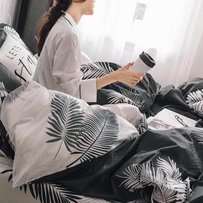 2019新款-条格无印四件套 床单款三件套1.2m(4英尺)床 羽墨800