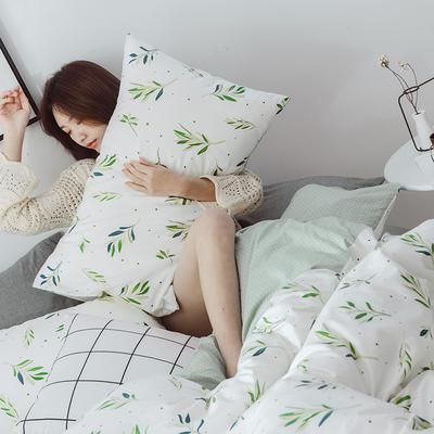 2019新款-小清新四件套 三件套1.2m(4英尺)床 抹绿