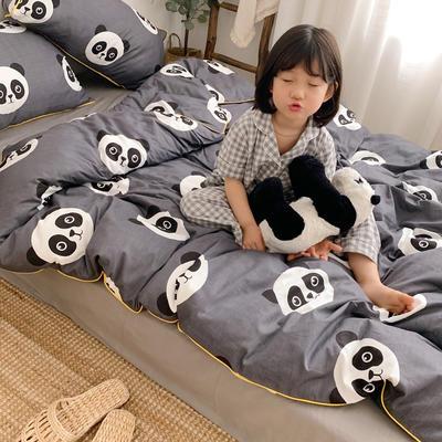2019新款-嵌繩工藝款四件套(拍攝風格1) 床單款三件套1.2m(4英尺)床 可愛熊貓