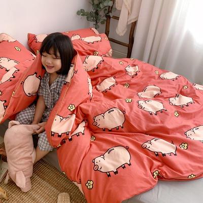 2019新款-嵌繩工藝款四件套(拍攝風格1) 床單款三件套1.2m(4英尺)床 萌寶豬