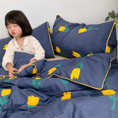 2019新款-嵌繩工藝款四件套(拍攝風格1) 床單款三件套1.2m(4英尺)床 小黃花