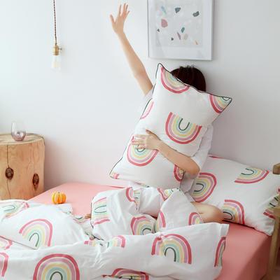 2019新款-嵌繩工藝款四件套(拍攝風格2) 床單款三件套1.2m(4英尺)床 彩虹