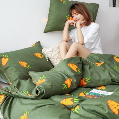 2019新款-嵌绳工艺款四件套(拍摄风格2) 床单款三件套1.2m(4英尺)床 胡萝卜