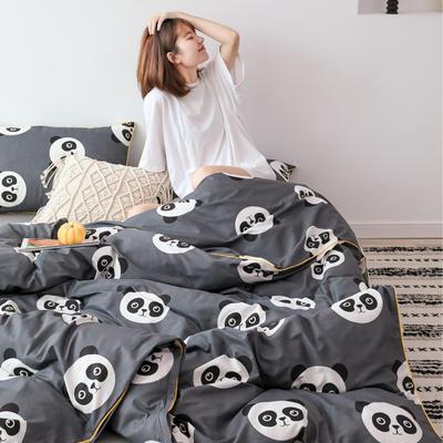 2019新款-嵌繩工藝款四件套(拍攝風格2) 床單款三件套1.2m(4英尺)床 可愛熊貓