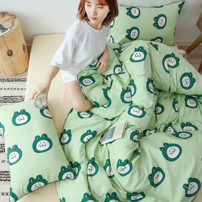 2019新款-嵌绳工艺款四件套(拍摄风格2) 床单款三件套1.2m(4英尺)床 小青蛙