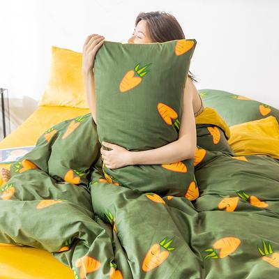 2019新款-全棉+水晶绒棉绒四件套 床单款三件套1.2m(4英尺)床 小萝卜
