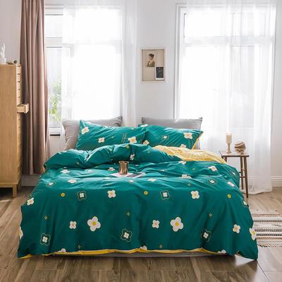 2019新款-全棉+水晶绒棉绒四件套 床单款三件套1.2m(4英尺)床 小墨花