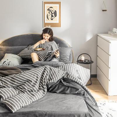 2019新款-全棉+水晶绒棉绒四件套 床单款三件套1.2m(4英尺)床 夜华