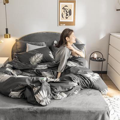 2019新款-全棉+水晶绒棉绒四件套 床单款三件套1.2m(4英尺)床 羽墨