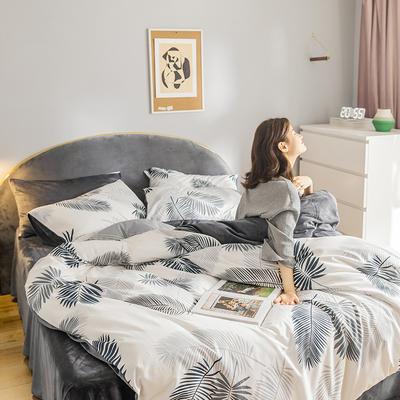 2019新款-全棉+水晶绒棉绒四件套 床单款三件套1.2m(4英尺)床 羽叶