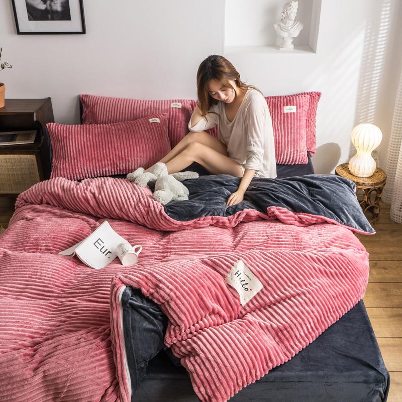 2019新款-魔法绒四件套 床笠款套加大四件套1.8m(6英尺)床 豆沙