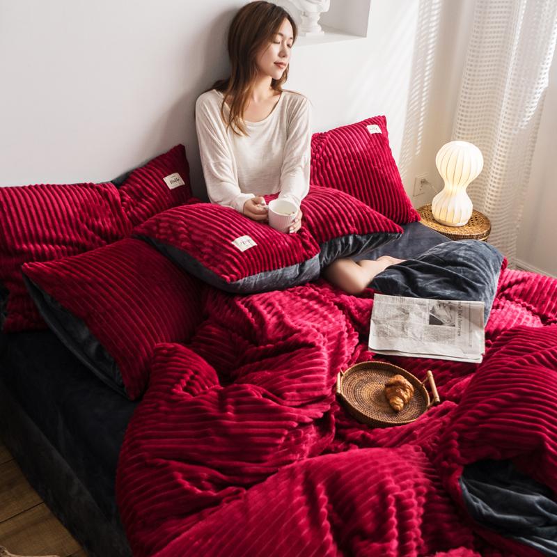 2019新款-魔法绒四件套 床笠款套加大四件套1.8m(6英尺)床 酒红