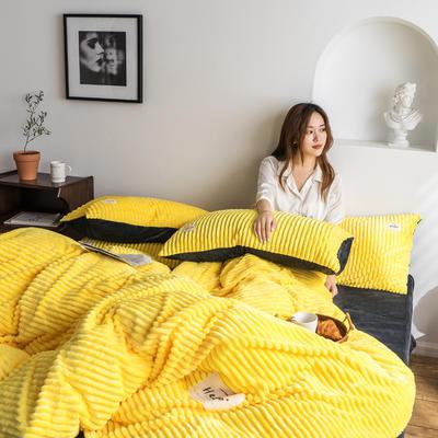2019新款-魔法绒四件套 床单款三件套1.2m(4英尺)床 亮黄