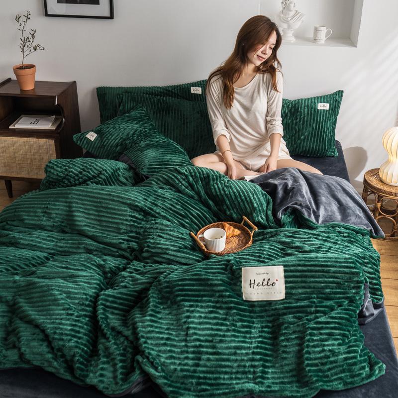 2019新款-魔法绒四件套 床笠款套加大四件套1.8m(6英尺)床 墨绿