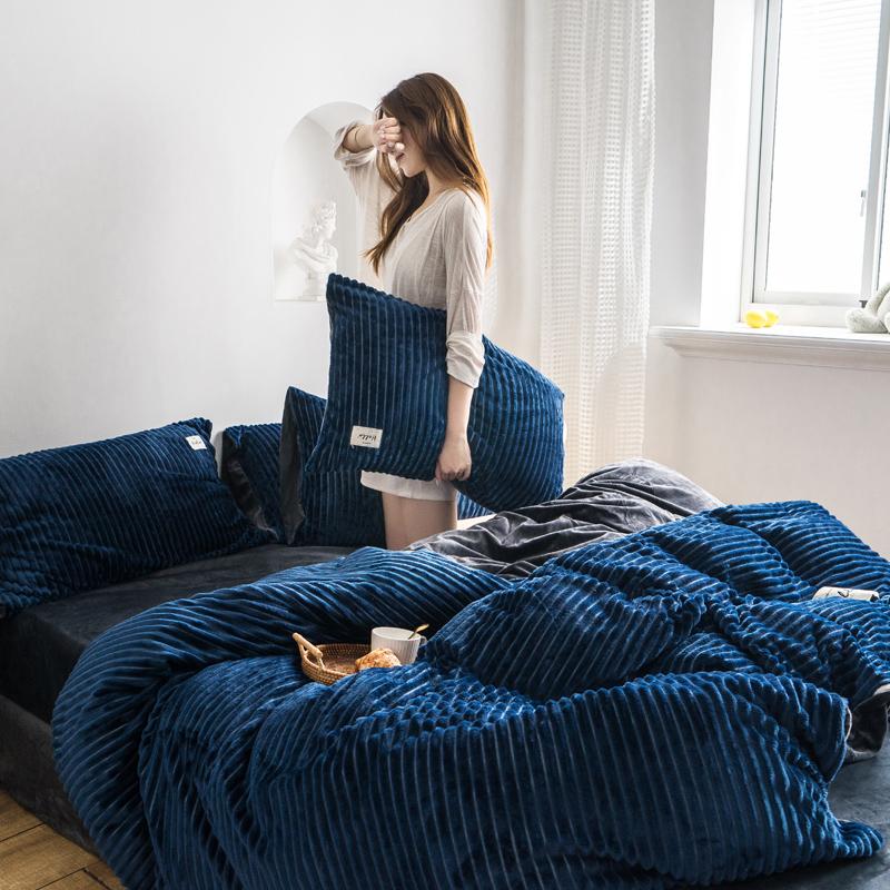 2019新款-魔法绒四件套 床笠款套加大四件套1.8m(6英尺)床 深蓝