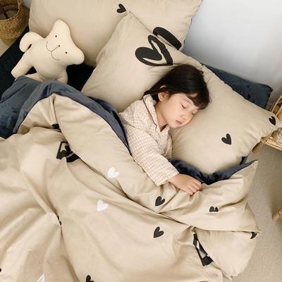 2019新款-全棉+水晶絨棉絨四件套小模特 床單款三件套1.2m(4英尺)床 愛心