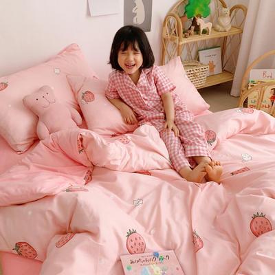 2019新款-全棉+水晶絨棉絨四件套小模特 床單款三件套1.2m(4英尺)床 草莓貓
