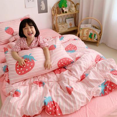 2019新款-全棉+水晶絨棉絨四件套小模特 床單款三件套1.2m(4英尺)床 草莓派