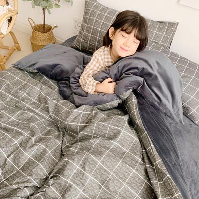 2019新款-全棉+水晶絨棉絨四件套小模特 床單款三件套1.2m(4英尺)床 格調黑