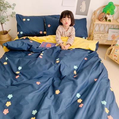 2019新款-全棉+水晶絨棉絨四件套小模特 床單款三件套1.2m(4英尺)床 花灑