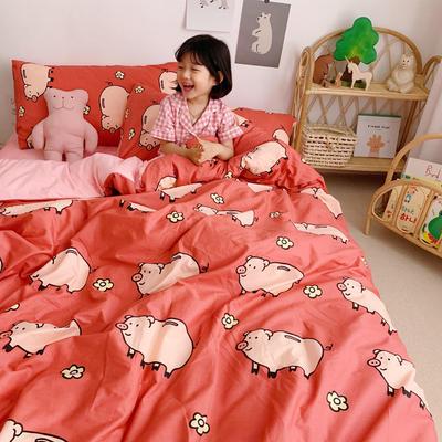 2019新款-全棉+水晶絨棉絨四件套小模特 床單款三件套1.2m(4英尺)床 可愛豬