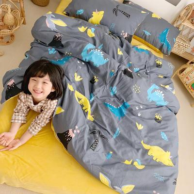 2019新款-全棉+水晶絨棉絨四件套小模特 床單款三件套1.2m(4英尺)床 恐龍世界