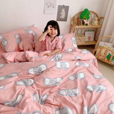 2019新款-全棉+水晶絨棉絨四件套小模特 床單款三件套1.2m(4英尺)床 萌象